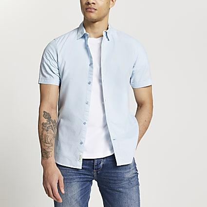 Blue slim fit short sleeve Oxford shirt