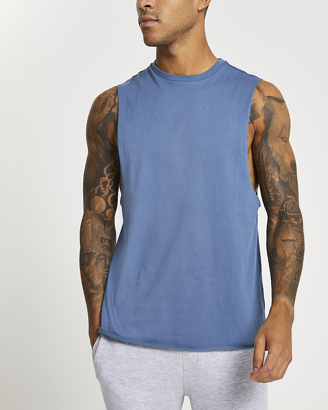 Blue slim fit tank vest