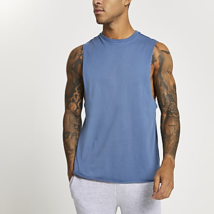 Blue slim fit tank vest