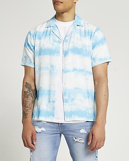 Blue slim fit tie dye short sleeve shirt