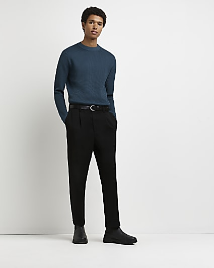 Blue slim fit waffle jumper
