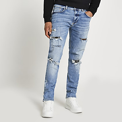 Blue slim-skinny fit paint splat Grant jeans
