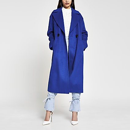 Blue slouch long line coat