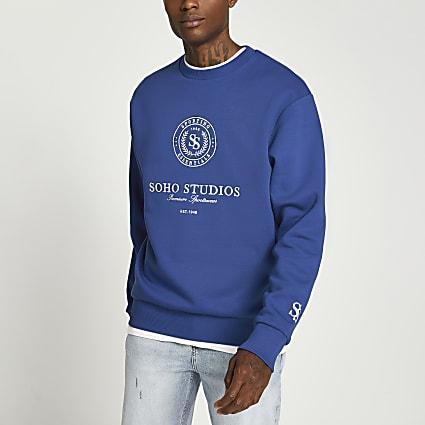 Blue Soho Studio print crew neck sweatshirt