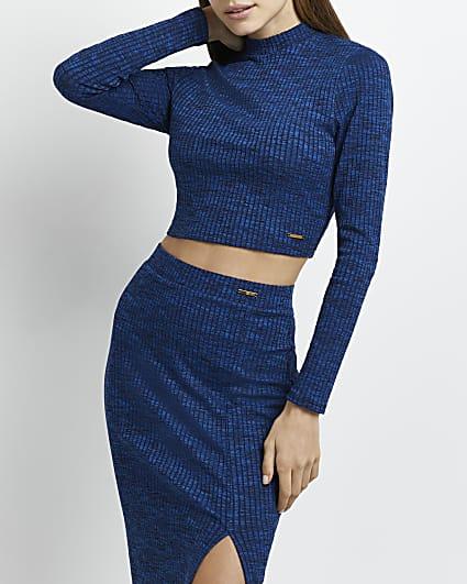 Blue spacedye ribbed crop top