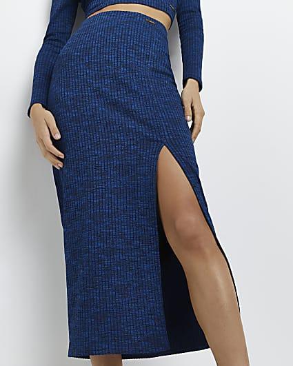 Blue spacedye ribbed midi skirt