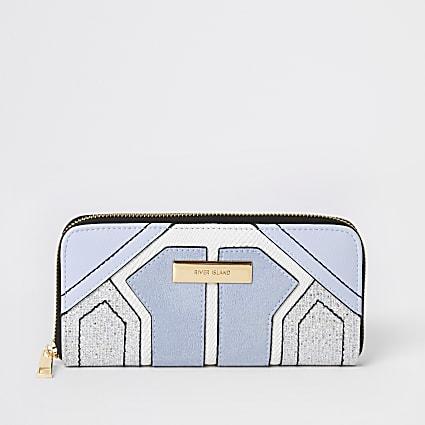 Blue sparkle cutabout zip around purse