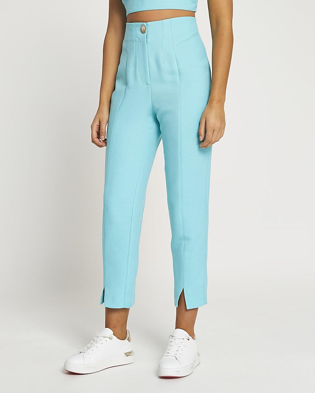 Blue split front cigarette leg trousers