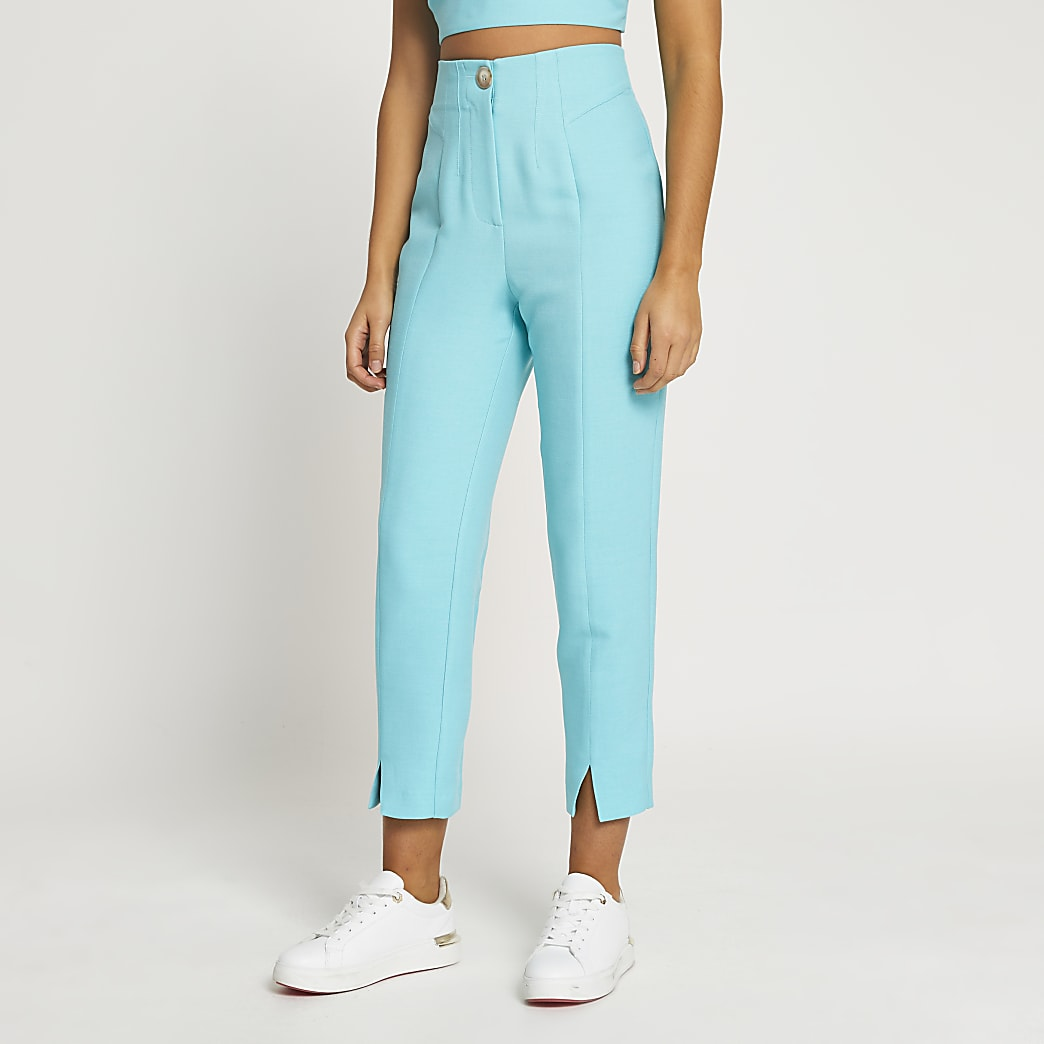 Blue split front cigarette leg trousers