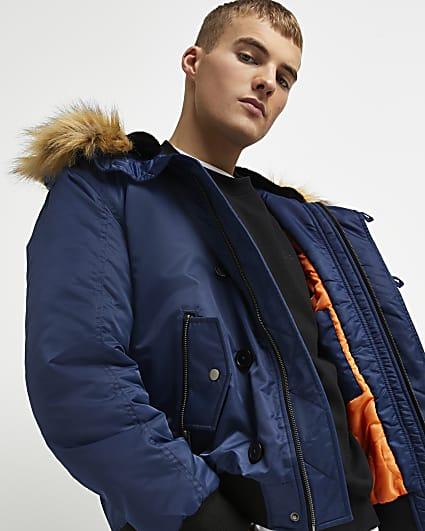 Blue split fur hood padded bomber jacket