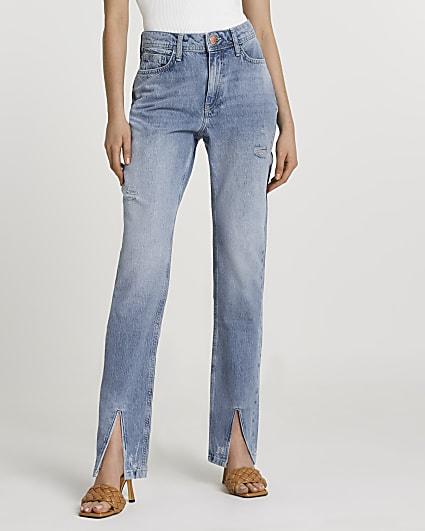 Blue split hem high waisted straight jeans
