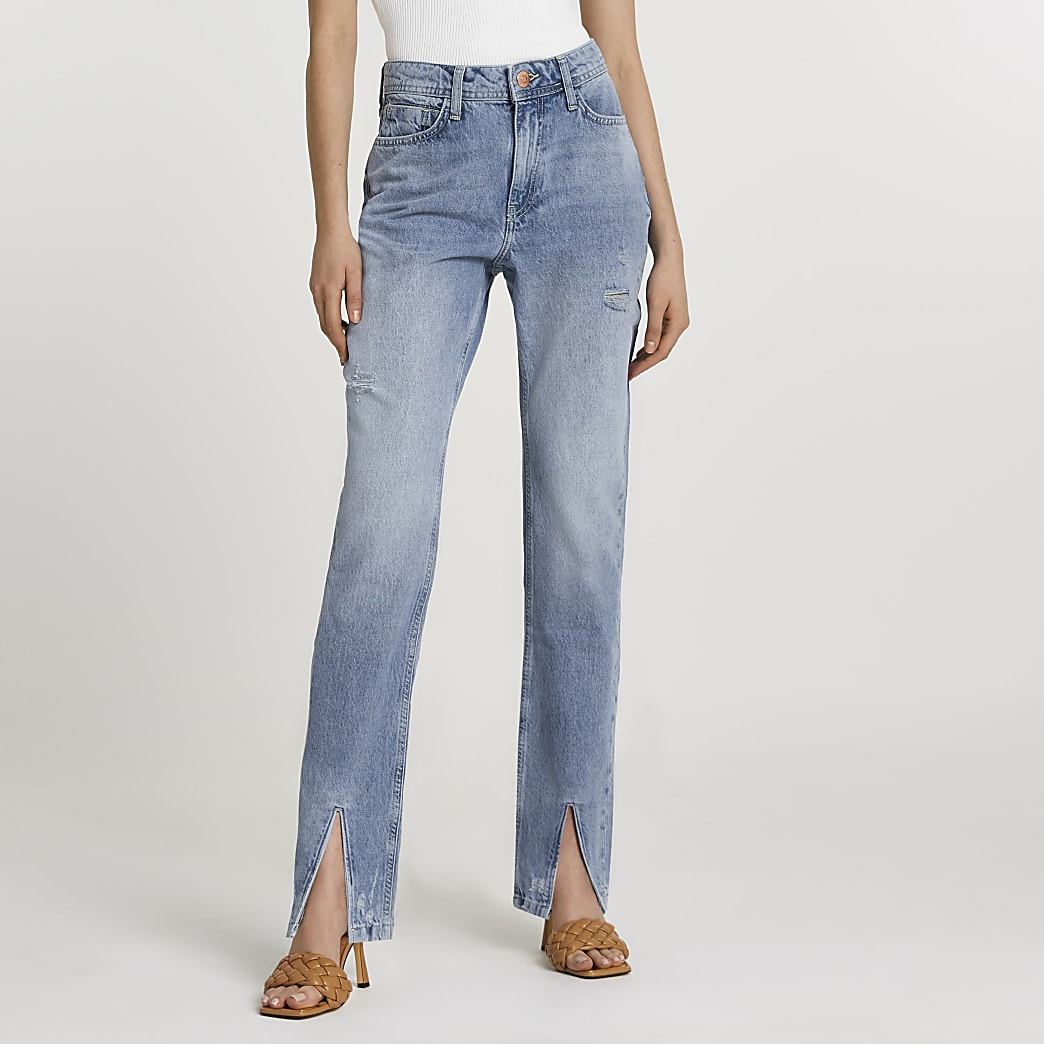 Blue split hem high waisted straight jeans