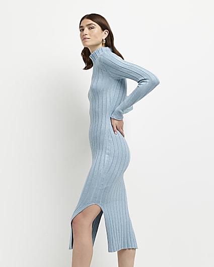 Blue split hem knitted bodycon midi dress