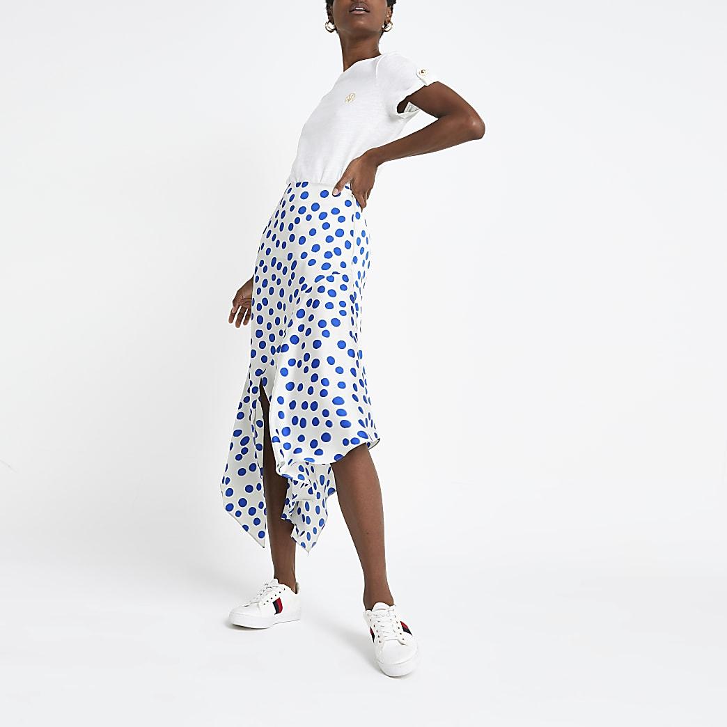 Blue spot asymmetric midi skirt