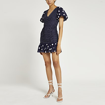Blue spot print ruched mini dress