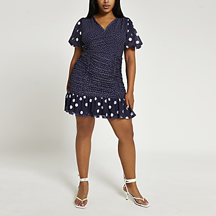 Blue spot short sleeve mini dress