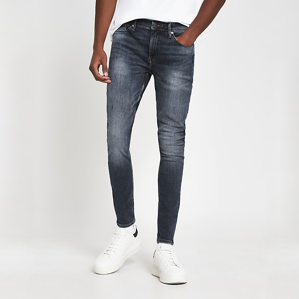 Blue spray on skinny denim jeans
