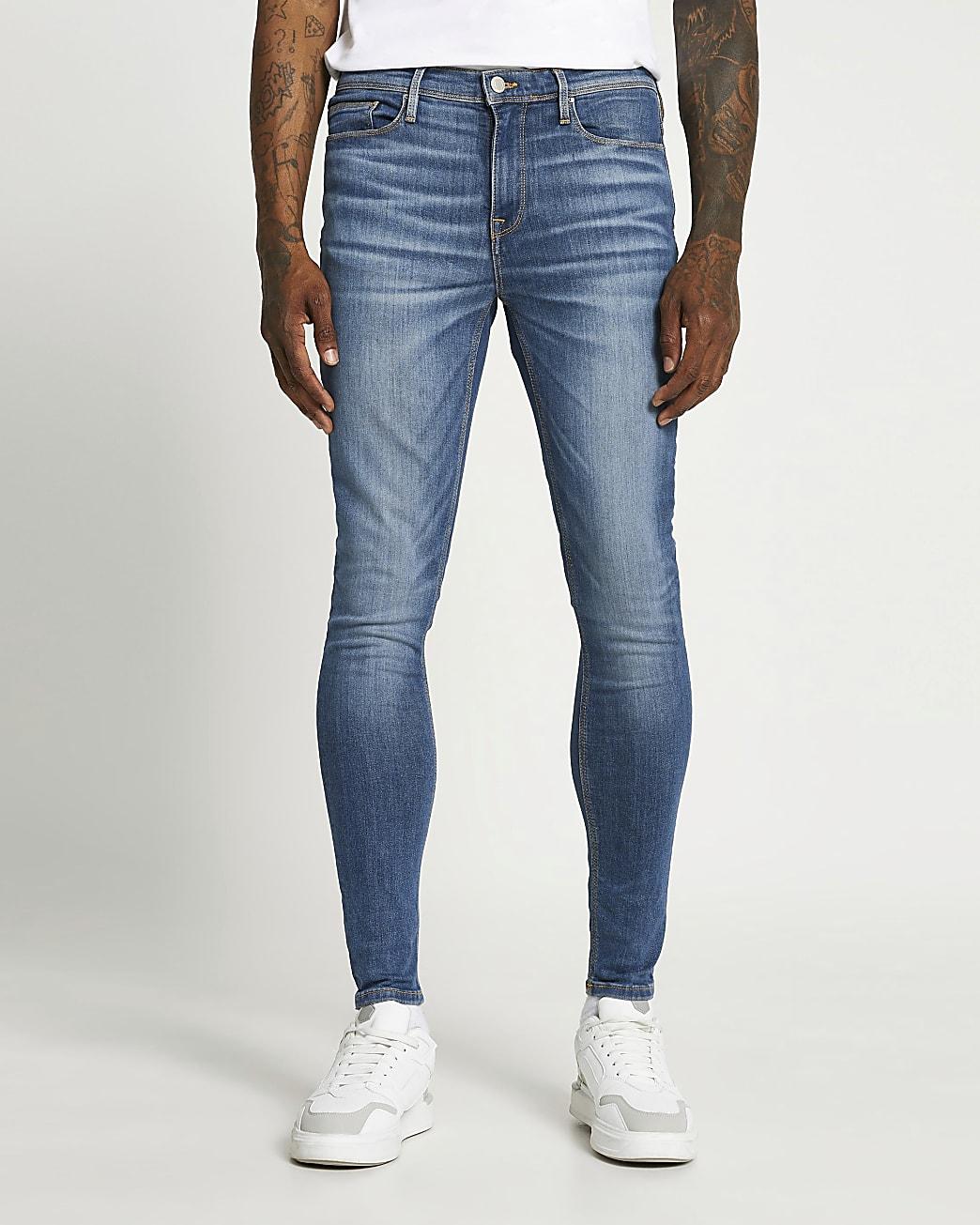Blue spray on skinny fit jeans