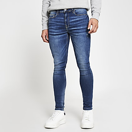 Blue spray on skinny fit jeans