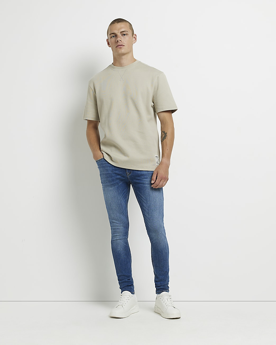 Blue spray on super skinny fit jeans