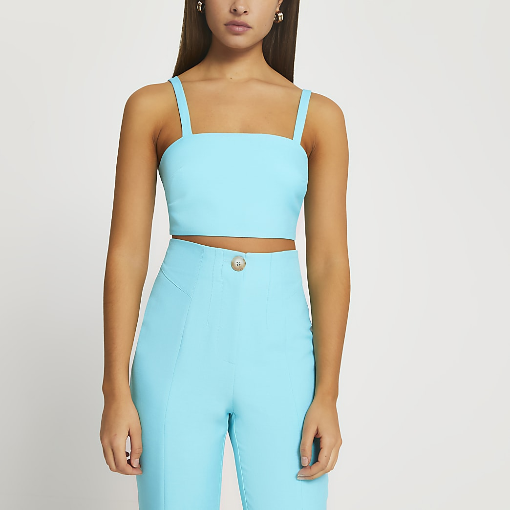 Blue square neck crop top