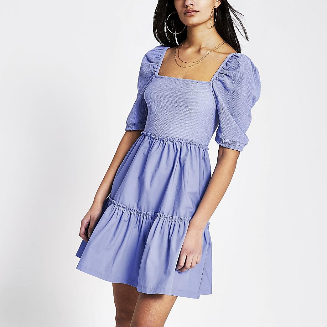 Blauwe gesmokte poplin mini-jurk met vierkante kraag