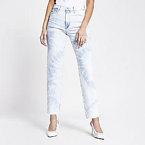 Blair – Blaue High-Rise-Jeans mit geradem Hosenbein in Stonewash-Optik