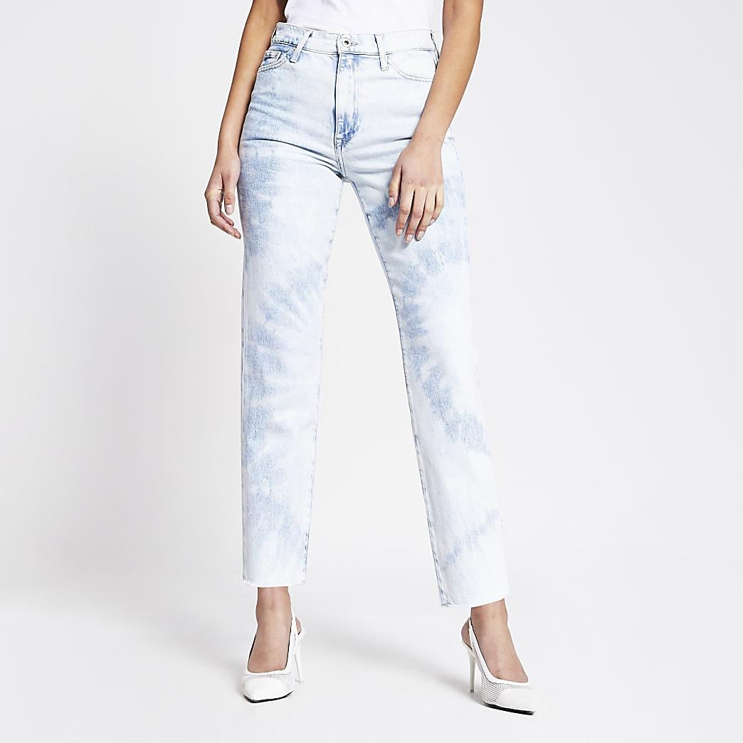 Blair - Blauwe stonewash high rise rechte jeans