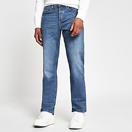 Blue straight denim jeans