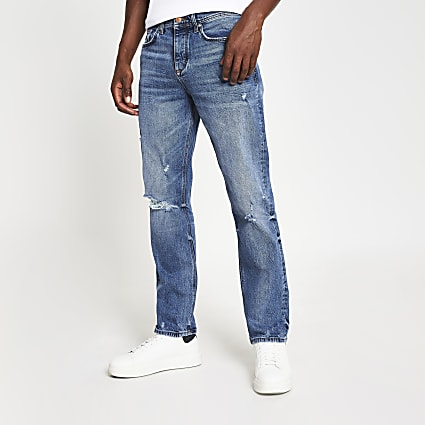Blue straight fit ripped jeans