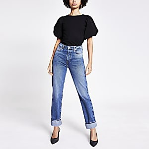 Blauwe rechte super high rise jeans