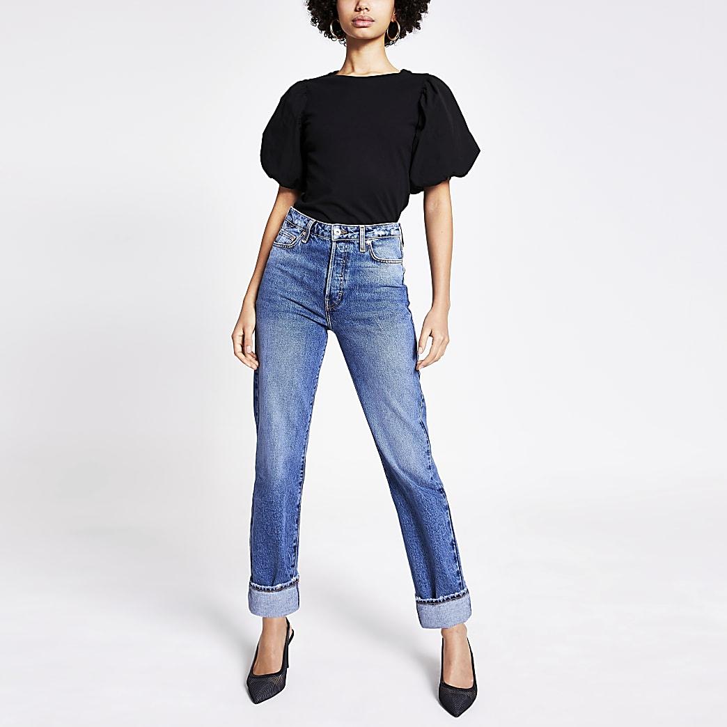 Sehr hoch geschnittene Jeans in Blau mit geradem Hosenbein
