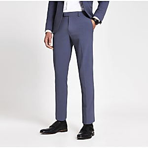 Blauwe stretch skinny pantalon