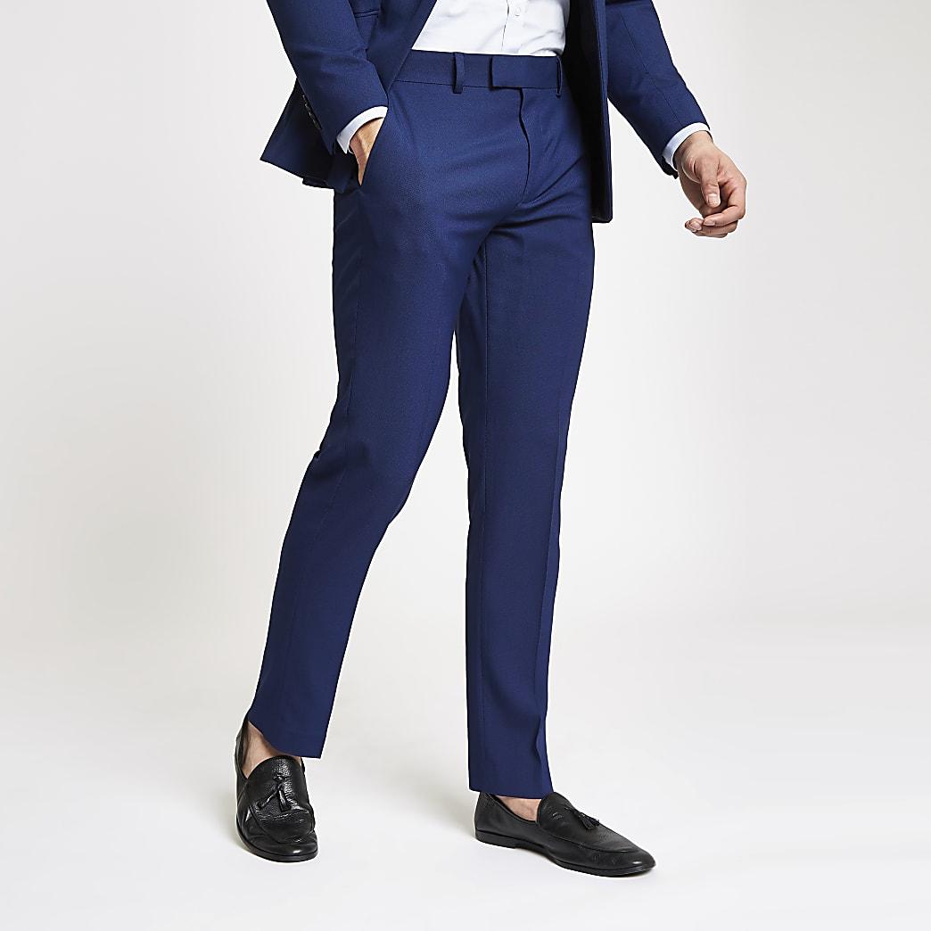 Blue stretch slim fit suit trousers