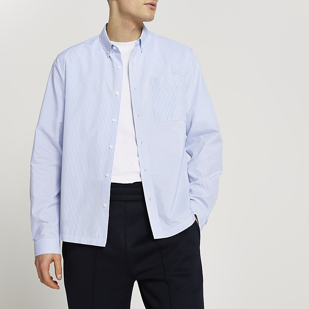 Blue stripe blocked shirt
