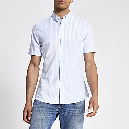Blue stripe blocked slim fit shirt