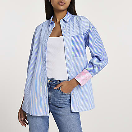 Blue stripe boyfriend shirt