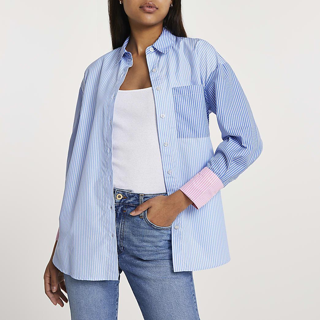 Blue stripe boyfriend shirt