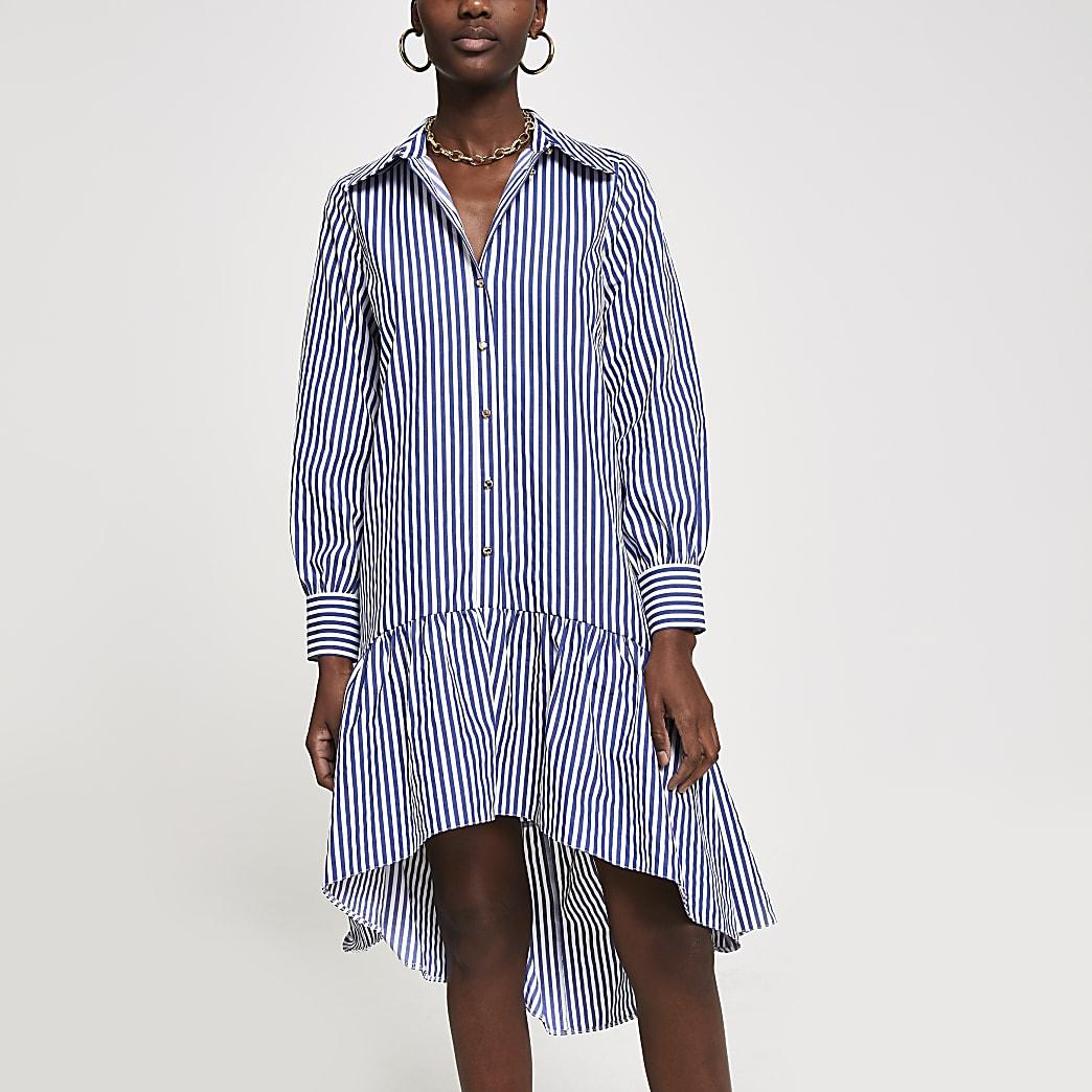 Blue stripe drop hem shirt dress