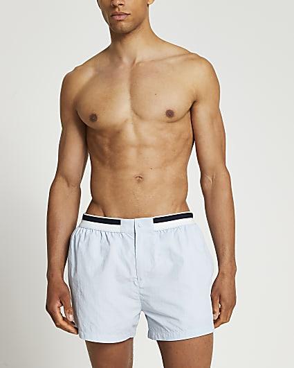 Blue stripe elasticated waist swim shorts