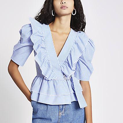 Blue stripe frill front poplin blouse