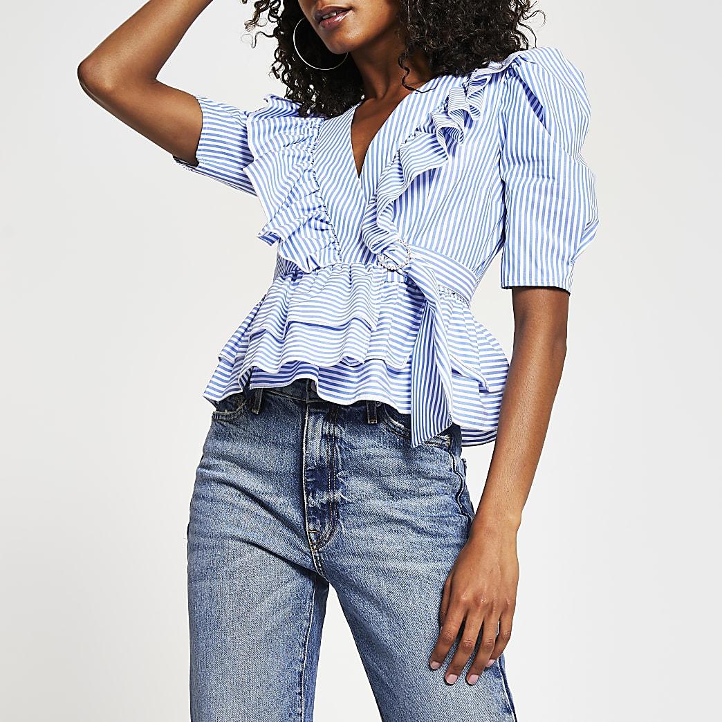 Blue stripe frill tie waist blouse
