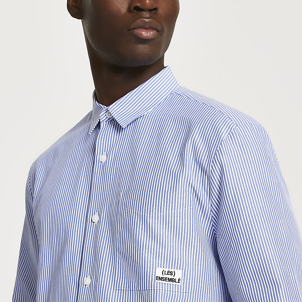 Blue stripe 'Les Ensembles' long sleeve shirt