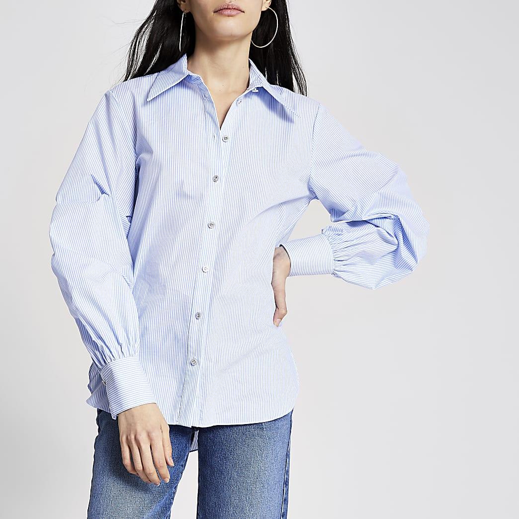 Blue stripe long ruched sleeve shirt