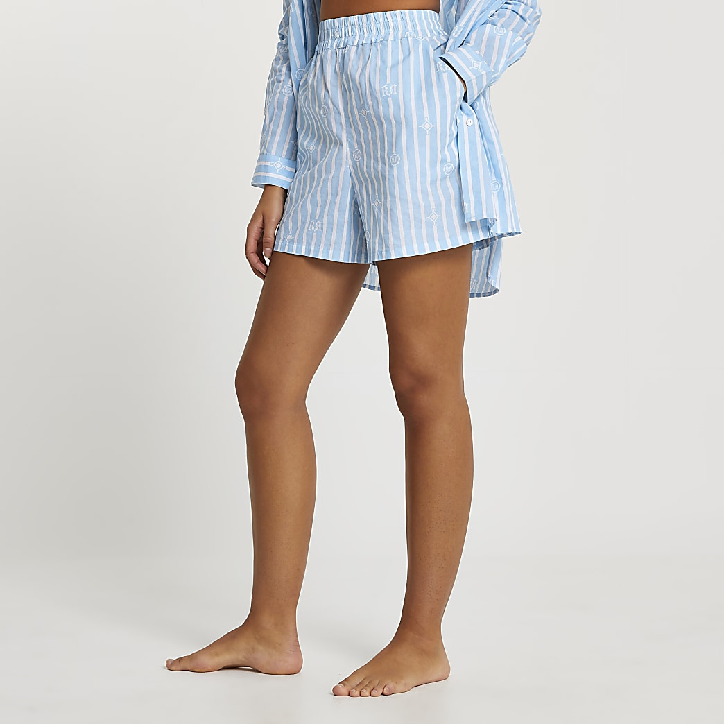Blue stripe loose fit shorts