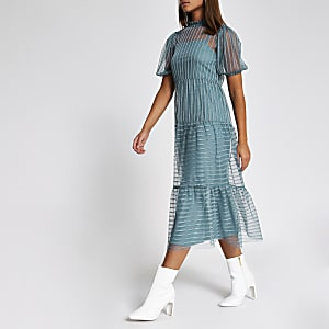 Blue stripe mesh short sleeve midi dress