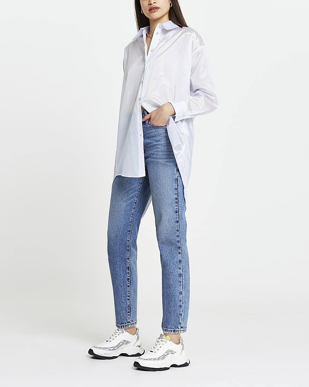 Blue stripe organza long sleeve shirt