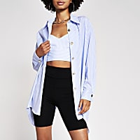 Blue Stripe oversized Long Shirt