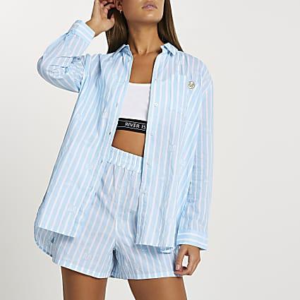 Blue stripe print oversized mini bed shirt