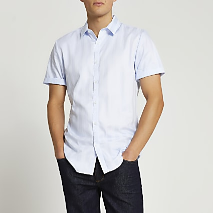 Blue stripe slim fit Egyptian cotton shirt